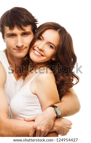 Lovely couple with beautiful young adult woman with big smiling - stock photo