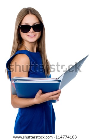 Lovely girl in dark glasses with a folder for documents. isolated on white background - stock photo