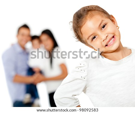 Lovely girl with her family - isolated over a white background - stock photo