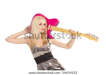 lovely girl with pink electric guitar - stock photo
