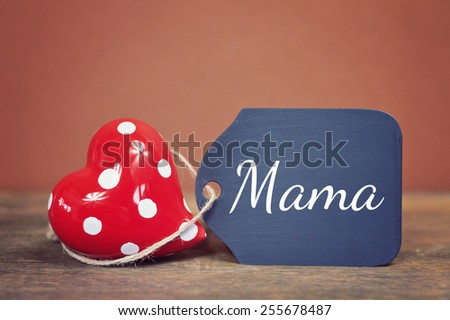 lovely greeting card -german for mom - stock photo