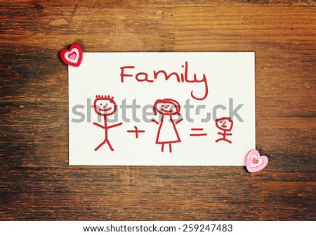 lovely greeting card - happy Mothers day - matchstick man - stock photo