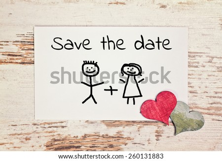 lovely greeting card - save the date - stock photo