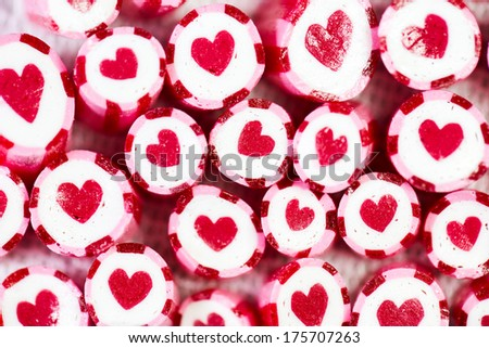 Lovely heart candy canes for Valentine's Day - stock photo
