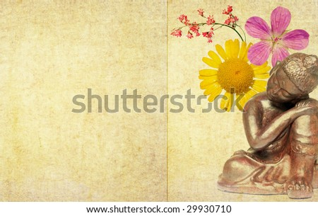 lovely illustration depicting a buddha and floral elements with plenty of space for text - stock photo