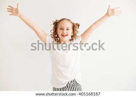 Lovely joyful little girl - stock photo