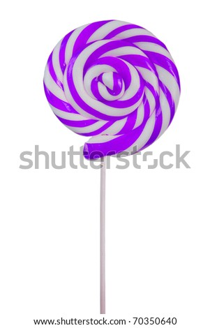 Lovely lollipop with purple and white stripes on white background - stock photo