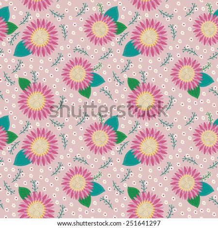 lovely pink flower seamless pattern over pink background - stock photo