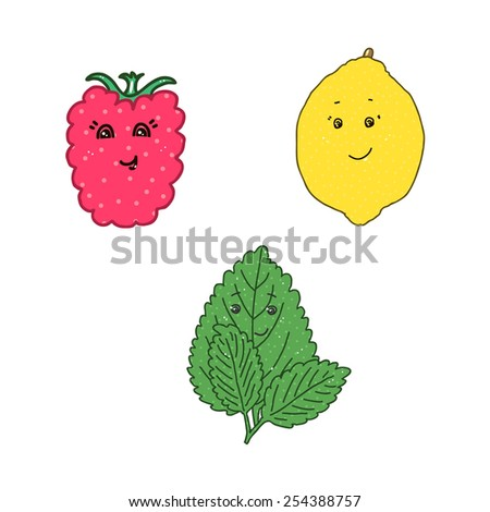 Lovely raspberry, lemon and mint on a white background.  - stock photo