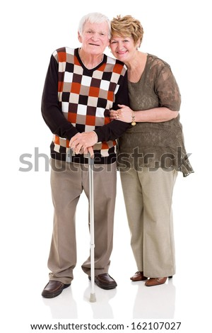 lovely senior couple isolated on white background - stock photo