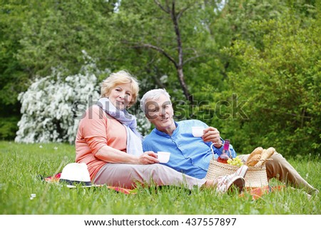 Lovely senior couple relaxing outdoor and drinking tea while picnic. - stock photo