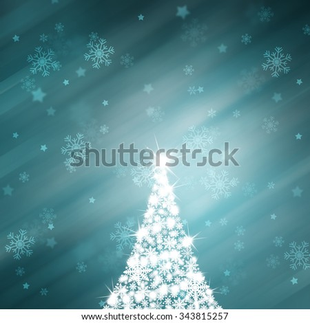 Lovely shiny snowflake Christmas tree with sparkle and beautiful bright and shiny cyan blue color background with blurry snowflakes. Christmas Holiday illustration copy space background. - stock photo