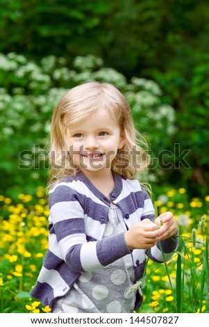 Lovely smiling little girl with blade of grass in her hands in summer day - stock photo