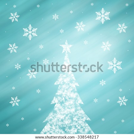 Lovely snowflake Christmas tree with star shape and beautiful bright and shiny cyan blue color background with blurry snowflakes. Christmas Holiday illustration copy space background. - stock photo
