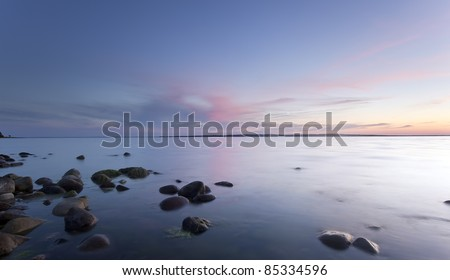 Lovely sunrise over the ocean, southern of Sweden - stock photo