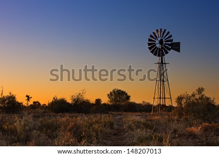 Lovely sunset in Kalahari with windmill grass and bright colours - stock photo