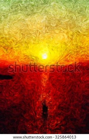 lovely sunset, sun goes down, impressionism art, modern art, oil painting, burning colors, beautiful view, romantic mood, ship  on water, ocean sea and clouds, brush drawing, art vision, calm mood, - stock photo