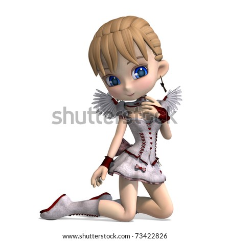 Lovely Toon Angel for your Valentine. 3D rendering with clipping path and shadow over white - stock photo