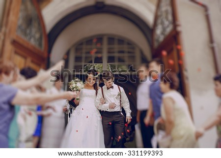 lovely wedding couple takes part in the wedding ceremony - stock photo