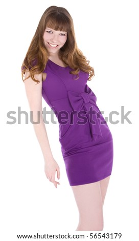 Lovely woman in purple dress on white background - stock photo