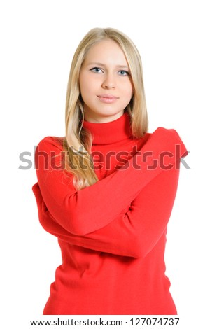 lovely woman in red blouse on white background - stock photo