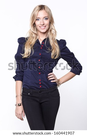 lovely woman in shirt and trousers - stock photo