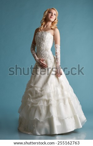 Lovely young bride posing in dress with embroidery - stock photo