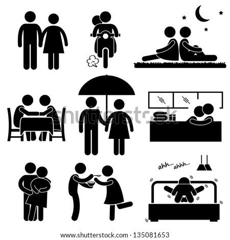 Lover Couple Boyfriend Girlfriend Sweetheart Relationship Activity Stick Figure Pictogram Icon - stock photo