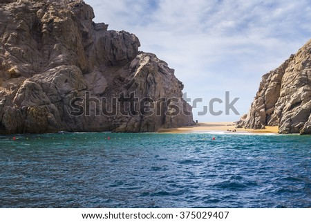 Lover's Beach at The Rock Formation of Land's End, Baja California Sur, Mexico, near Cabo San Lucas - stock photo