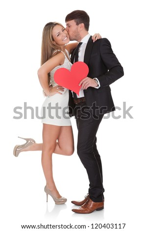 Lover showing affection for lady. Isolated on white - stock photo