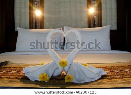 lover towel swan  - stock photo