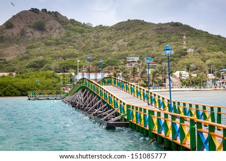 Lovers bridge connecting Santa Catalina and Providencia, Colombia - stock photo