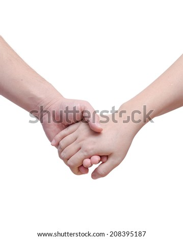 Lovers couple holding hands on white background - stock photo