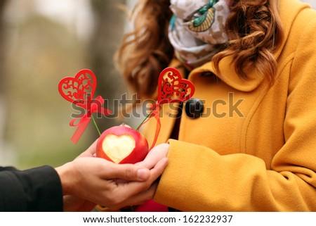 lovers hands - stock photo