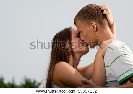 Lovers kissing - stock photo