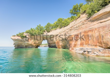 Lovers Leap, a named formation on Lake Superior in Pictured Rocks National Lakeshore, near Munising, Michigan.  - stock photo