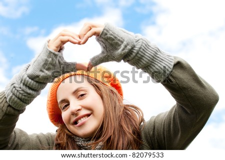 lovesign woman - stock photo