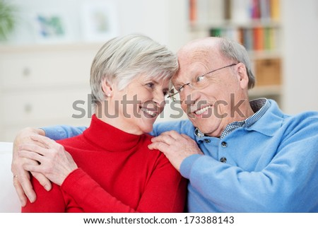 Loving charismatic senior couple sharing a joke touching foreheads and smiling into each others eyes as they sit together in the living room - stock photo