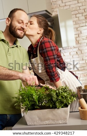 Loving couple cooking together in kitchen, kissing. - stock photo