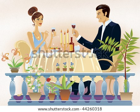 loving couple evening supper in the restaurant. - stock photo