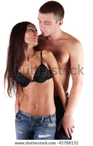 loving couple isolated on a white background - stock photo