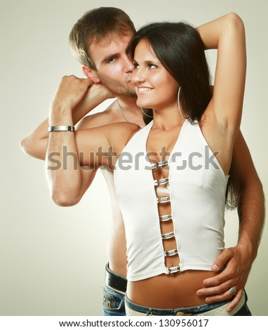 Loving couple isolated on white background - stock photo