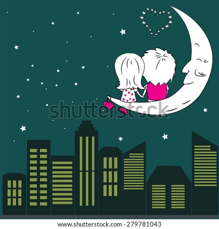 Loving couple man and woman sitting on the moon in the night city - stock photo