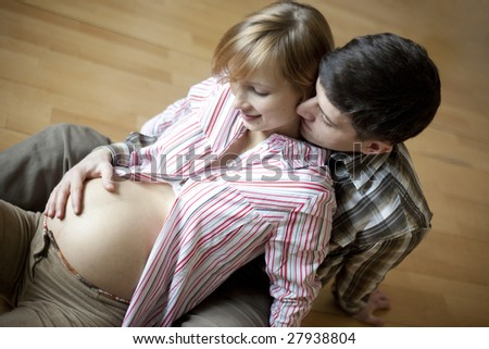 loving couple waiting baby - stock photo