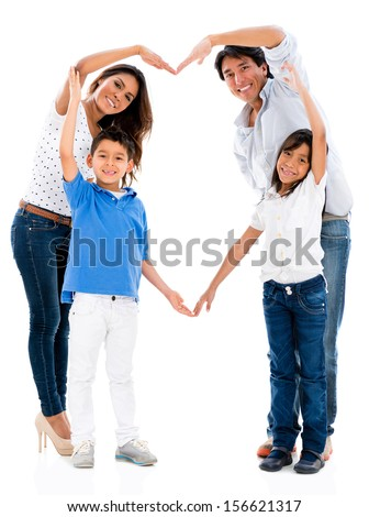 Loving family making a heart shape - isolated over white background  - stock photo