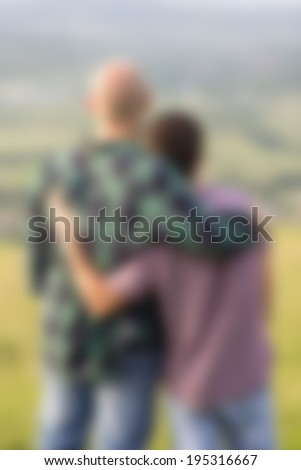 Loving gay couple. - stock photo