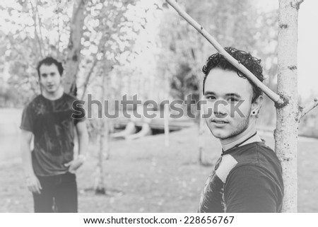 Loving gay couple in outsite - stock photo