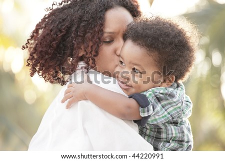 Loving mother and son - stock photo