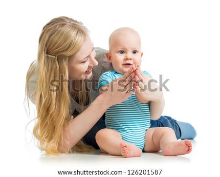 loving mother holding baby boy isolated on white - stock photo