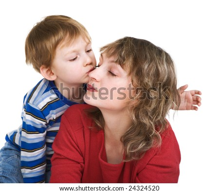 Loving son kisses mother - stock photo